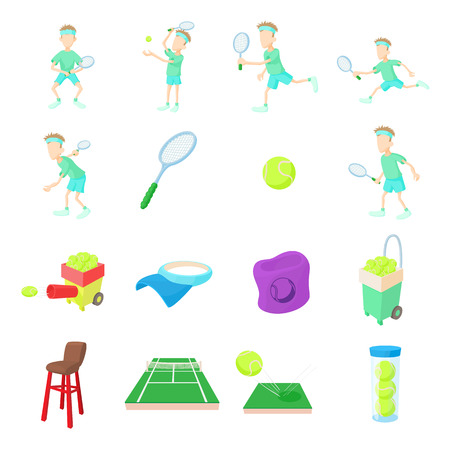 tennis shoe: Tennis icons set in cartoon style isolated on white background