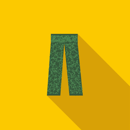 back belt: Camouflage trousers icon in flat style with long shadow