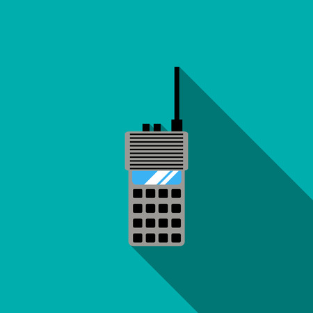 transceiver: Portable radio transceiver icon in flat style with long shadow