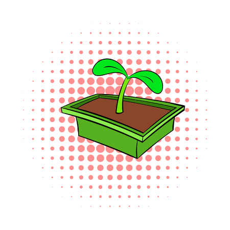 seedlings: Seedlings in box icon in comics style on dotted background. Plants and nature symbol Illustration