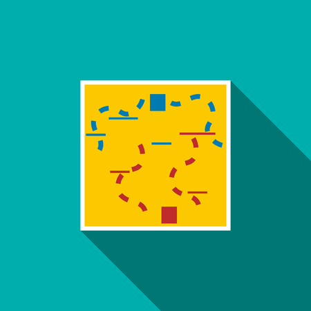 extreme science: Paintball map icon in flat style with long shadow