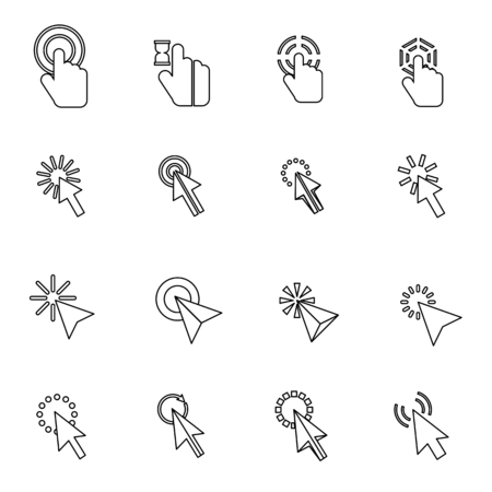 help section: Mouse pointer icons set in thin line style for any design