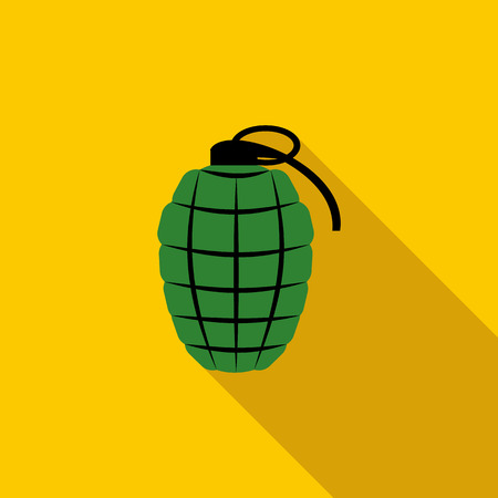 hand grenade: Green hand grenade icon in flat style with long shadow