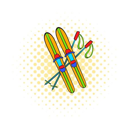 Skis et bâtons icône dans le style de bande dessinée sur fond pointillé. Symbole de divertissement d'hiver