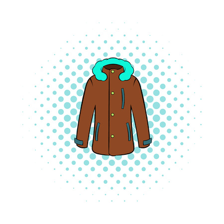 winter jacket: Winter jacket icon in comics style on dotted background. Clothing symbol