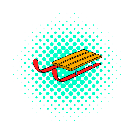 wintery: Sleigh icon in comics style on dotted background. Snow and entertainment symbol Illustration