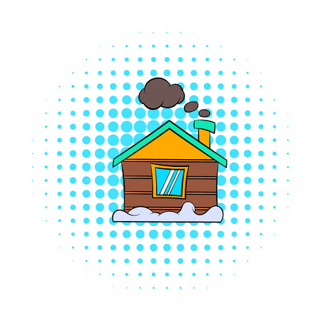 accommodation: Winter house icon in comics style on dotted background. Accommodation and residency symbol