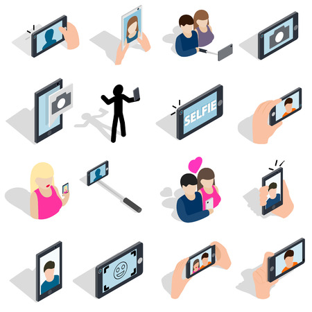 pictogram people: Selfie icons set in isometric 3d style isolated on white background Illustration