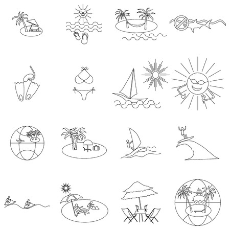 thin shell: Beach icons set in thin line style isolated on white background