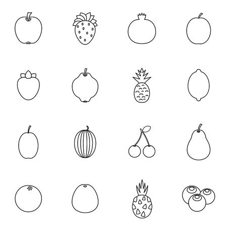 mango slice: Fruit icons set in thin line style isolated on white background