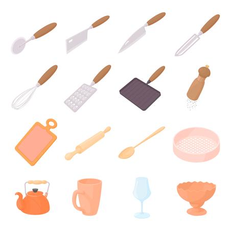 utensilios de cocina: iconos de utensilios de cocina en estilo de dibujos animados aislados en blanco backgroun