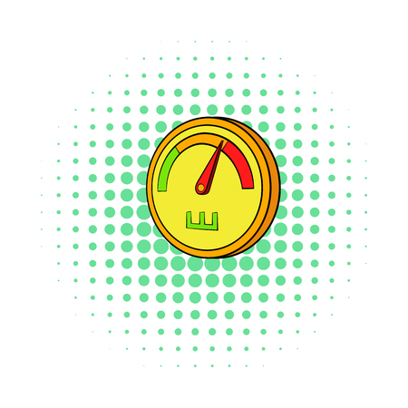speedmeter: Speedometer or general indicator icon in comics style isolated on white background