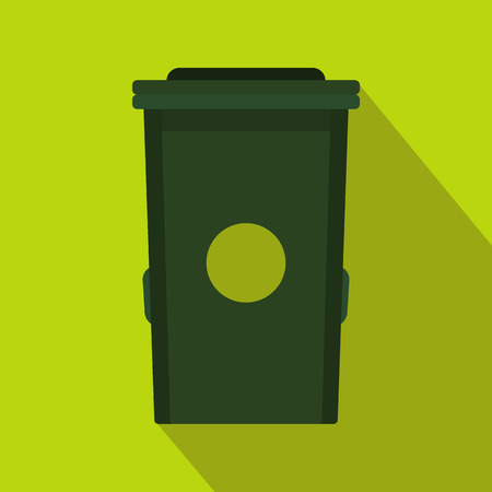Plastic trash can icon in flat style with long shadow. Waste and sanitation symbol Illustration