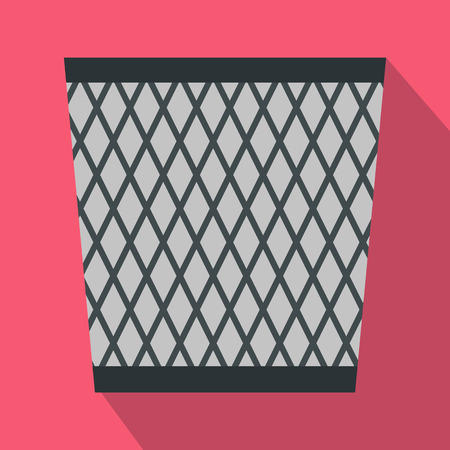 sanitation: Bin icon in flat style with long shadow. Waste and sanitation symbol Illustration