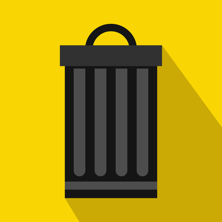 sanitation: Iron trash can icon in flat style with long shadow. Waste and sanitation symbol Illustration
