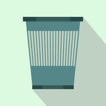 sanitation: Plastic waste bin icon in flat style with long shadow. Waste and sanitation symbol