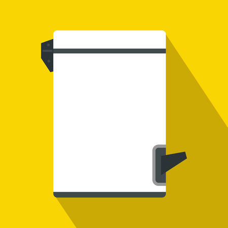 tilting: Trash bin with tilting lid icon in flat style with long shadow. Waste and sanitation symbol Illustration