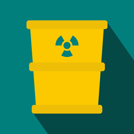 hazardous waste: Bucket for hazardous waste icon in flat style with long shadow. Waste and sanitation symbol