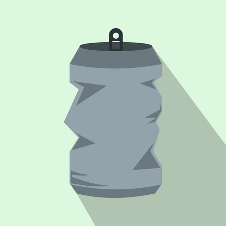 aluminum cans: Crumpled aluminum cans icon in flat style with long shadow. Drink symbol