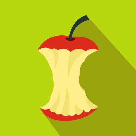 apple core: Apple core icon in flat style with long shadow. Fruit and food symbol