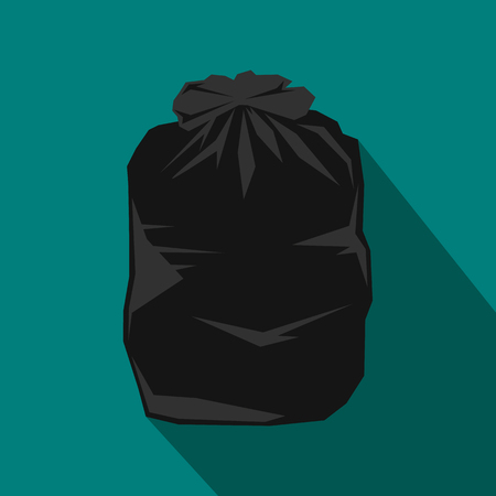 bag of soil: Black trash bag icon in flat style with long shadow. Waste and sanitation symbol