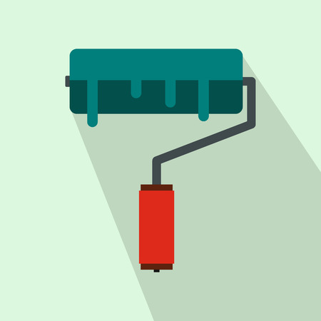 blue roller: Paint roller with blue paint icon in flat style on a light blue background