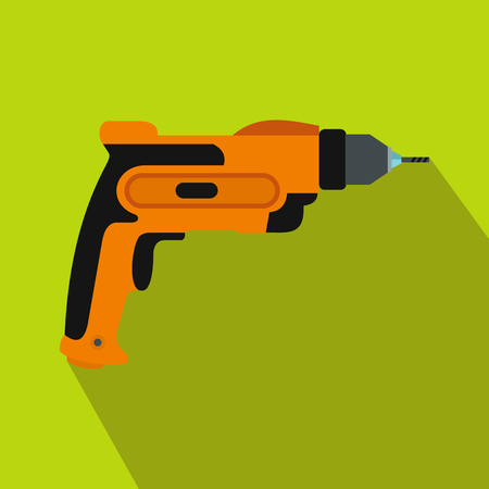 auger: Orange hand drill icon in flat style on a green background