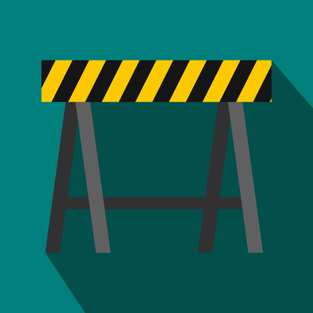 Traffic barrier icon in flat style on a blue background