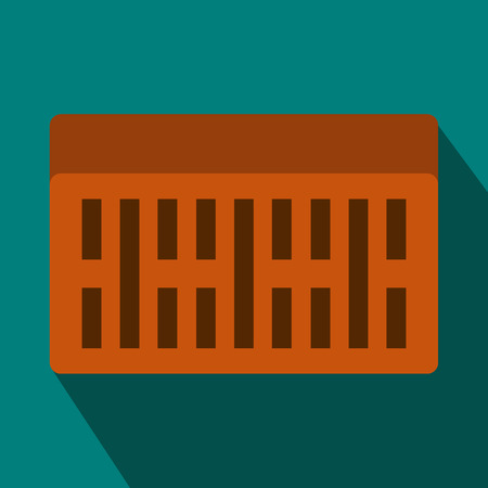 building brick: One building brick icon in flat style on a blue background Illustration