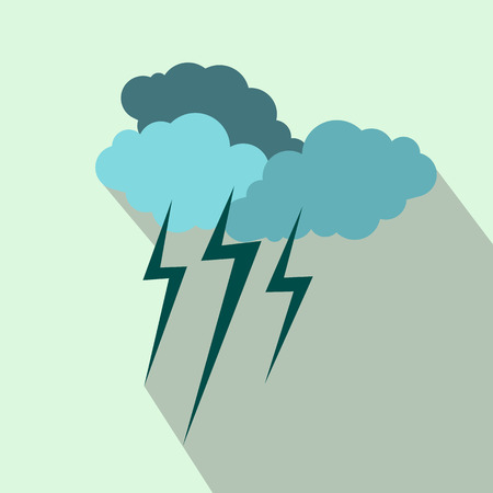lightnings: Cloud with lightnings icon in flat style on a light blue background