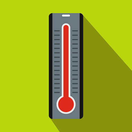 high temperature: Thermometer indicates extremely high temperature icon in flat style on a green background