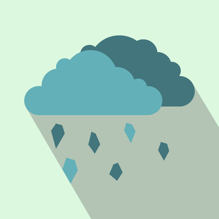 hailstone: Clouds and hail icon in flat style on a light blue background