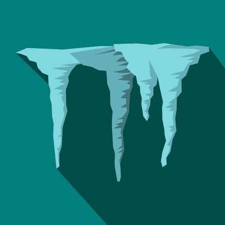 thaw: Icicles icon in flat style on a blue background