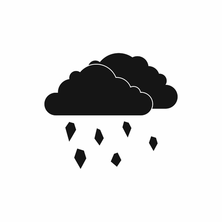 hail: Clouds and hail icon in simple style isolated on white background Illustration