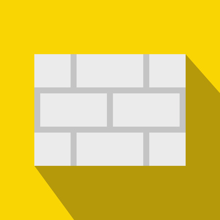 concrete block: Concrete block wall icon in flat style on a yellow background