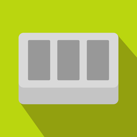 panes: White window frame icon in flat style on a green background Illustration