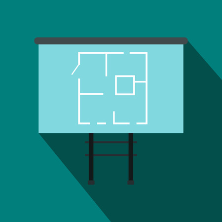 construction draftsman: Project of house on a board icon in flat style on a blue background