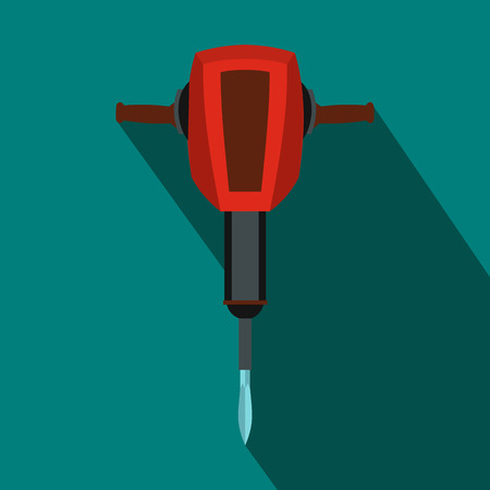 pneumatic: Pneumatic plugger hammer icon in flat style on a blue background Illustration