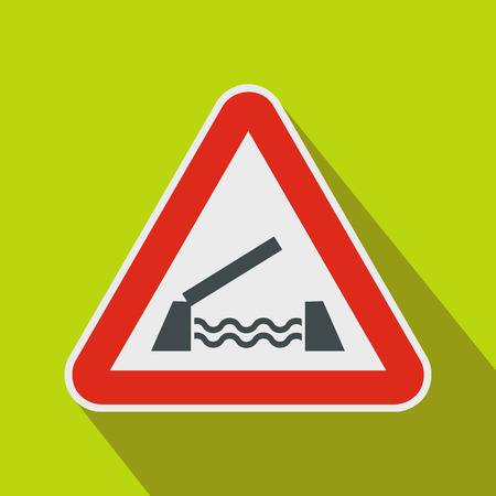 safely: Lifting bridge warning sign icon in flat style on a green background
