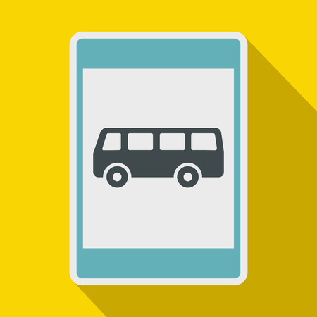autobus: Bus stop sign icon in flat style on a yellow background