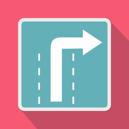 curve ahead sign: Turn right traffic sign icon in flat style on a pink background