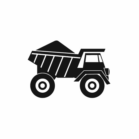 gravel: Dump truck with sand icon in simple style isolated on white background Illustration