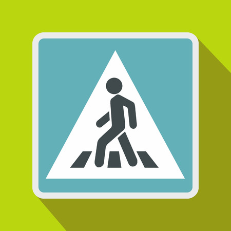 pedestrian walkway: Pedestrian road sign icon in flat style on a green background