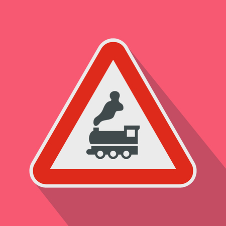 railtrack: Warning sign railway crossing without barrier icon in flat style on a pink background