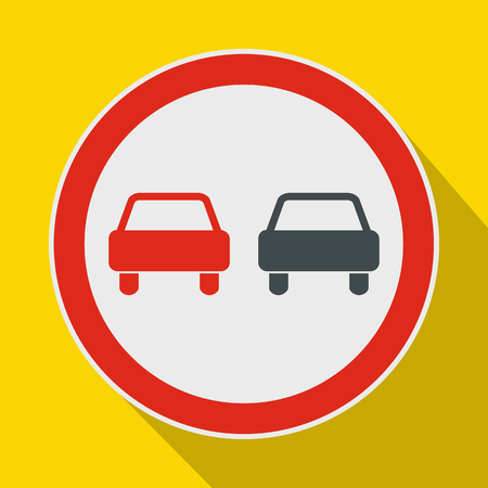 No overtaking road traffic sign icon in flat style on a yellow background