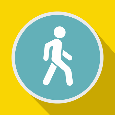pedestrians: Pedestrians only road sign icon in flat style on a yellow background