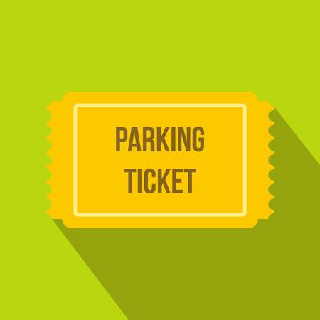 icona di biglietto di parcheggio in stile piatto su uno sfondo verde