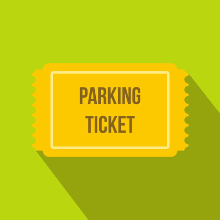 Parking ticket icon in flat style on a green background