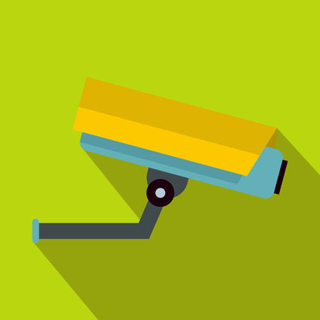 private i: Surveillance camera icon in flat style on a green background