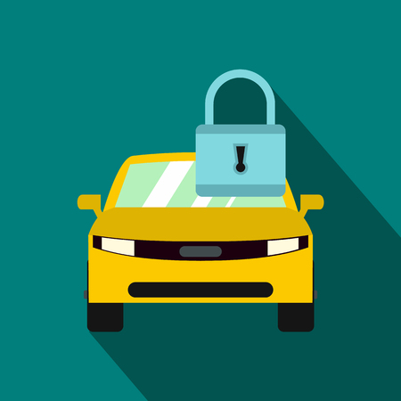 driving conditions: Yellow car with padlock icon in flat style on a blue background